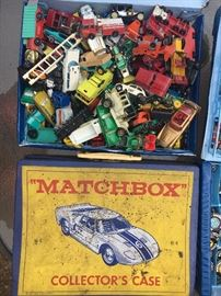 Big collection of vintage 1960s Matchbox cars and well-used case.