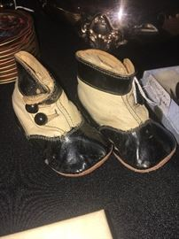 Victorian two-tone baby shoes.