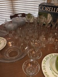 Large collection of vintage glassware--matching goblets, iced teas, tumblers, plates and serving pieces.