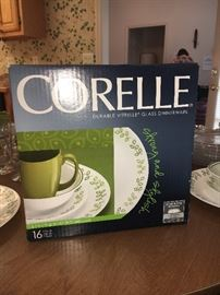 Corelle Neo Leaf dinnerware--one set boxed, one not.