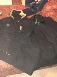 Vintage WWII navy uniform and pea coat.