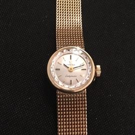 Vintage 1970s ladies Omega Ladymatic watch, 14k hold filled.