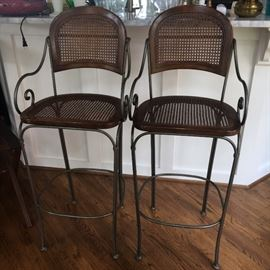 Two lovely wood and metal bar height seats.