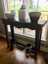 Contemporary painted pine sinsole table with antique crockery.