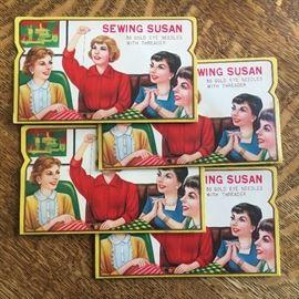 Vintage Sewing Susan needle books.