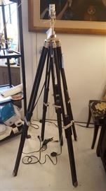 Pair of custom tripod black and chrome lamps
