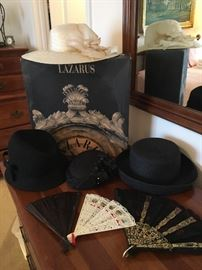 Large collection of vintage hats and few early fans