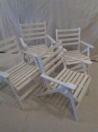 Vintage wood folding garden armchairs, set 4
