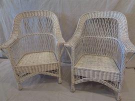 Pair vintage wicker garden armchairs