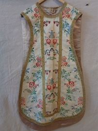Antique silk religious chasbule vestment; made with possibly 18th . French silk