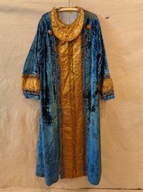 Antique Masonic or theater costume blue velvet robe