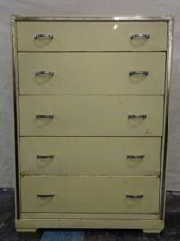 Norman Bel Geddes for Simmons 1930's deco metal dresser with chrome trim
