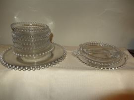 Imperial Candlewick Bead Glass serving plates