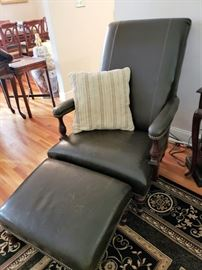 Leather Armchairs with Ottomans