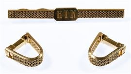 14k Gold Cuff Links and Tie Bar