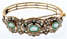 14k Rose Gold Emerald and Diamond Bracelet