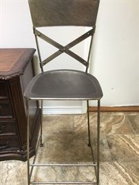 One of 4 hammered metal bar stools