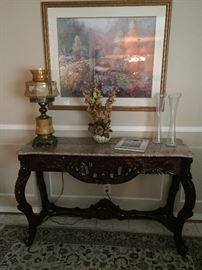 Marble top, carved rosewood console table, have matching end table