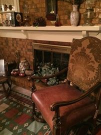 William & Mary Throne Chair, leather seat,