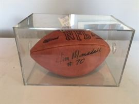 Jim Marshall Autographed Football and Case.