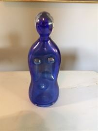 Decorative Blue Glass Figure.