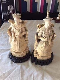 Pair of Japanese Carved Figures.