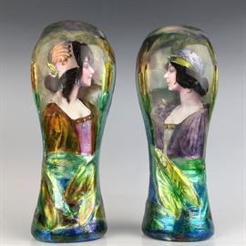Pair of Art Nouveau Enamel Portrait Vases