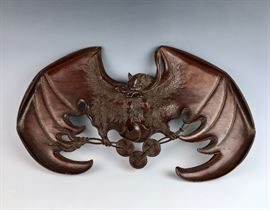 "Magnificent Chinese Carved Wood ""Bat"" C. 1880"