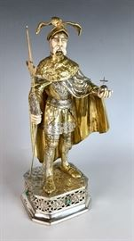 Tall Gilt Sterling Silver and Bone Knight