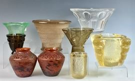 Collection of Daum Nancy Art Deco Acid-Cut-Back Vases