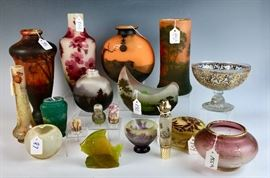 Assortment of French Cameo Glass, including Daum Nancy, Galle and Muller Freres