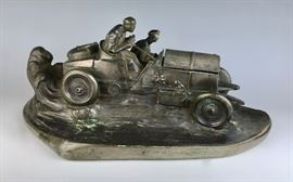 Antique Race Car Inkwell and Pen Tray sgd. Frick
