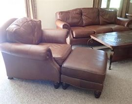 BERNHARDT LEATHER SOFA - CHAIR & OTTOMAN ALL IN GREAT CONDITION  - SLATE TOP TABLE