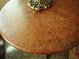 BURLED PEDESTAL ROUND SIDE TABLE