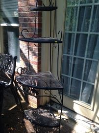 Wrought iron corner plant stand