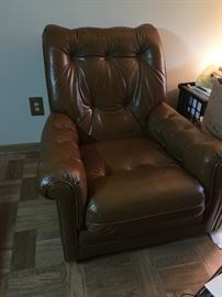 This beautiful leather recliner is a match to a nice leather couch.