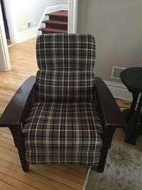 Vintage Adirondack chair in plaid fabric. Perfect for cabin!