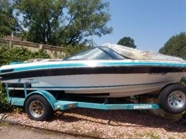 1991 Invader beautiful boat with fish finder. One tire low but has spare. Not started in years. 4750 OBO