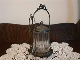 ANTIQUE CLEAR GLASS PICKLE JAR W LID AND CARRIER AND TONGS