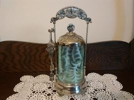 VINTAGE PICKLE JAR W/ GLASS INSERT AND CARRIER AND TONGS
