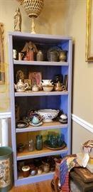Assorted wood art, glass Mason jars old stoneware