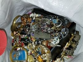 Boxes full of costume jewelry. (Will be sorted out for the sale)