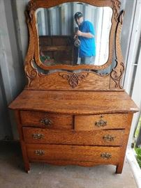 Antique Dresser with Ornate Mirror