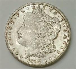 1892 CC Morgan silver dollar.   Carson City silver dollar