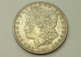1894-S Morgan silver dollar. Key date. XF details
