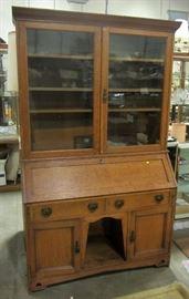 English drop front oak/bookcase.  Large size