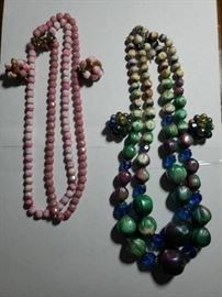 Green and Pink Vintage Necklace Sets
