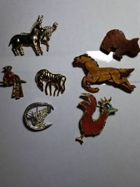 Lot of Cool Vintage Animal Pins