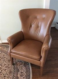Ethan Allan Leather Wing Chair
