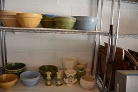 Antique mixing bowls and other ceramic pieces